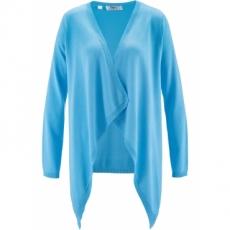 Langarm-Zipfelstrickjacke in blau für Damen von bonprix