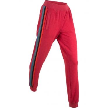 Lange, leichte Sweathose mit Multicolor-Tape in rot für Damen von bonprix