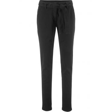 Lange Stretchhose mit Bindeband in schwarz für Damen von bonprix