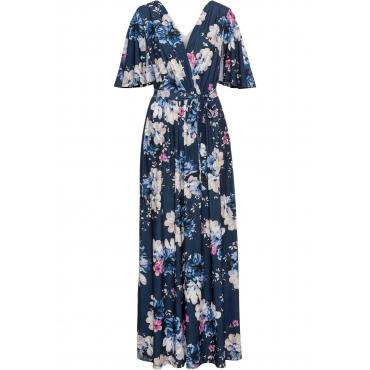 Langes Sommerkleid aus Jersey kurzer Arm  in blau von bonprix