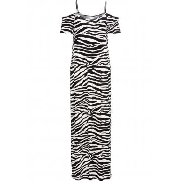 Sommer-Maxikleid aus Jersey mit Cut-Outs kurzer Arm  in schwarz für Damen von bonprix