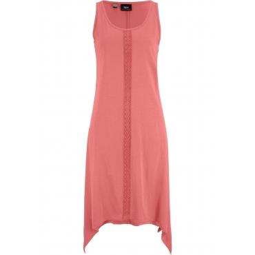 Langes Zipfelkleid mit Crochettape aus Baumwolle ohne Ärmel  in rosa für Damen von bonprix