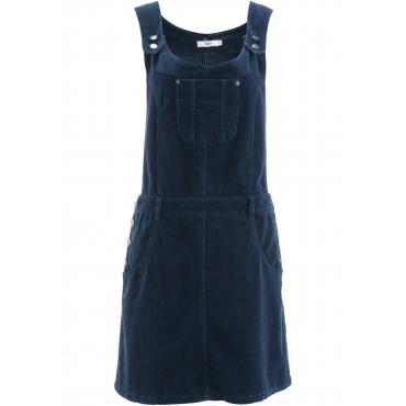 Latzkleid aus Stretch-Cord ohne Ärmel  in blau für Damen von bonprix