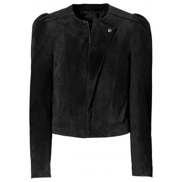 Leder Jacke langarm  in schwarz von bonprix