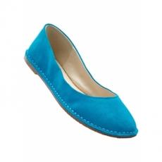 Lederballerina in blau für Damen von bonprix
