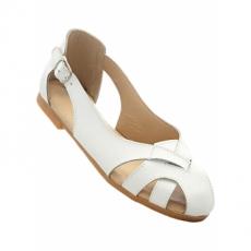 Lederballerina in weiß für Damen von bonprix