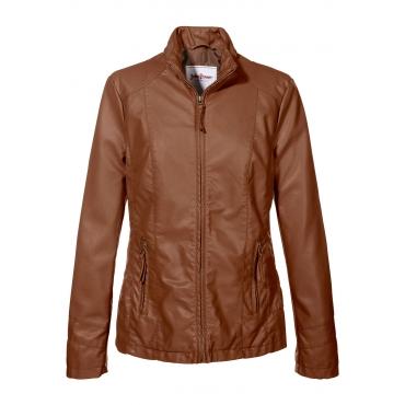 Lederimitat-Jacke langarm  in braun für Damen von bonprix