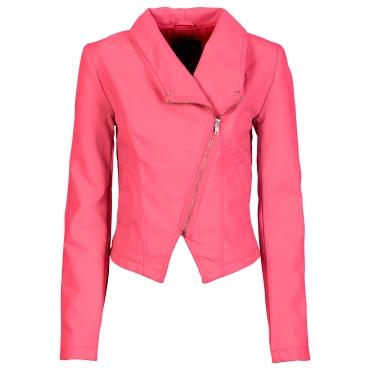 Lederimitat Jacke langarm  in pink für Damen von bonprix
