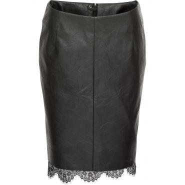 Lederimitat-Rock mit Spitze in schwarz für Damen von bonprix