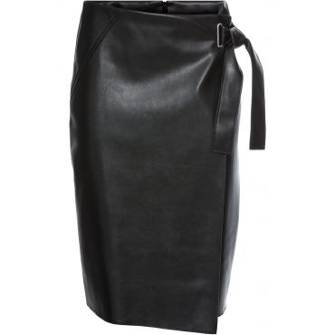 Lederimitat-Rock mit Wickeloptik in schwarz für Damen von bonprix
