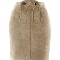 Lederrock mit Stickerei in braun für Damen von bonprix