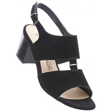 Sandalette aus Leder mit 5 cm Blockabsatz in schwarz von bonprix