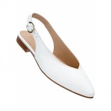 Lederslingballerina in weiß für Damen von bonprix