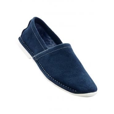 Lederslipper in blau von bonprix