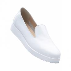 Lederslipper in weiß von bonprix