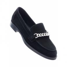 Lederslipper mit 2 cm Blockabsatz in schwarz von bonprix
