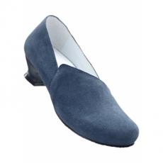 Lederslipper mit 4 cm Trichterabsatz in blau von bonprix