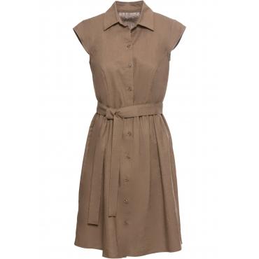 Leinen-Blusenkleid mit Knöpfen kurzer Arm  in braun für Damen von bonprix
