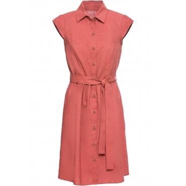 Leinen-Blusenkleid mit Knöpfen kurzer Arm  in rot für Damen von bonprix