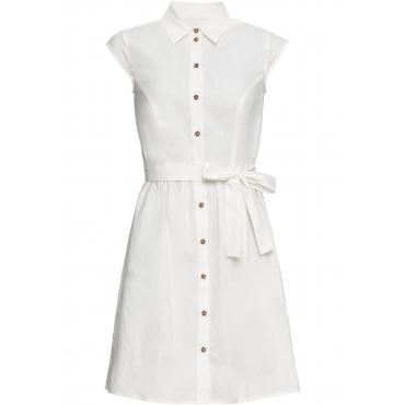 Leinen-Blusenkleid mit Knöpfen kurzer Arm  in weiß für Damen von bonprix