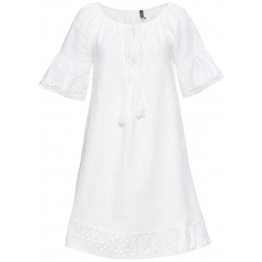 Leinenkleid halber Arm  in weiß für Damen von bonprix