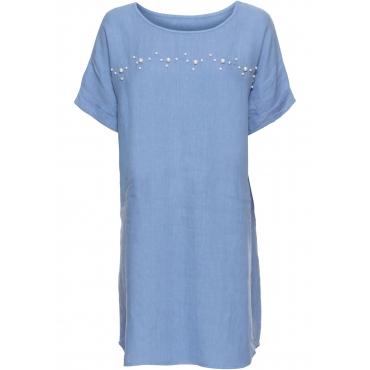 Leinenkleid mit Perlen halber Arm  in blau von bonprix