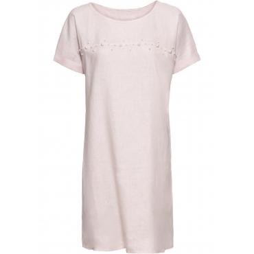 Leinenkleid mit Perlen halber Arm  in rosa von bonprix