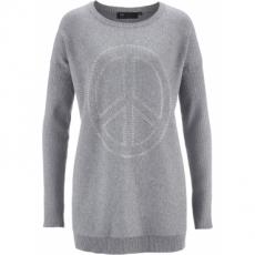 Long-Pullover mit Peace-Dekosteinapplikation langarm  in grau für Damen von bonprix