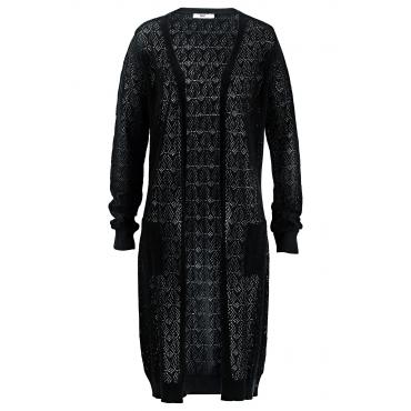 Long-Strickjacke, Langarm in schwarz für Damen von bonprix