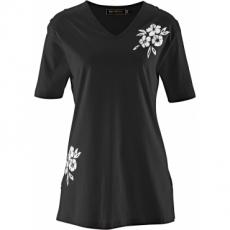 Longshirt kurzer Arm  in schwarz (V-Ausschnitt) für Damen von bonprix