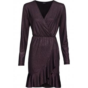 Lurex-Wickelkleid mit Volant langarm  in lila für Damen von bonprix