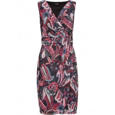 Mesh-Kleid in Wickeloptik ohne Ärmel  in schwarz für Damen von bonprix