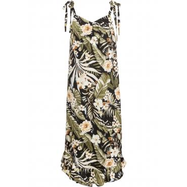 Midi-Kleid mit Bindebändern ohne Ärmel  in schwarz für Damen von bonprix