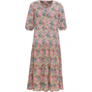 Midi-Kleid mit Blumendruck halber Arm  in rosa  von bonprix