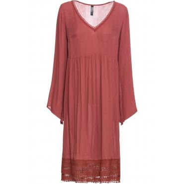 Midi-Kleid mit Spitze langarm  in rot von bonprix