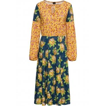 Midikleid in Patch-Optik langarm  in gelb für Damen von bonprix