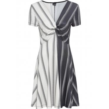 Musterblocking-Jerseykleid kurzer Arm  in schwarz für Damen von bonprix