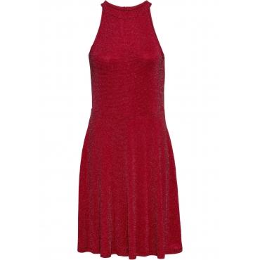 Neckholder-Kleid, Glitzer ohne Ärmel  in rot für Damen von bonprix