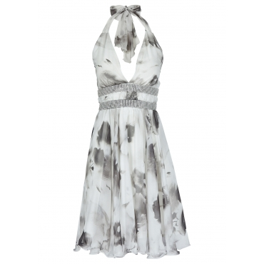 Neckholder-Kleid in weiß von bonprix