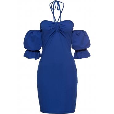 Neckholder-Kleid ohne Ärmel  in blau für Damen von bonprix