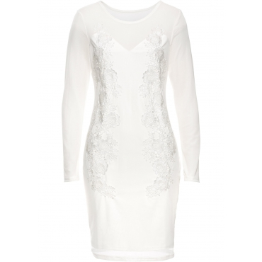 Netz-Kleid mit Spitze langarm  in weiß von bonprix