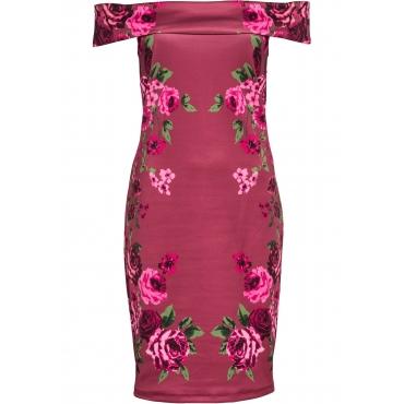 Off-Shoulder-Kleid mit Print ohne Ärmel  in lila für Damen von bonprix