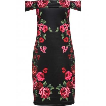 Off-Shoulder-Kleid mit Print ohne Ärmel  in schwarz für Damen von bonprix