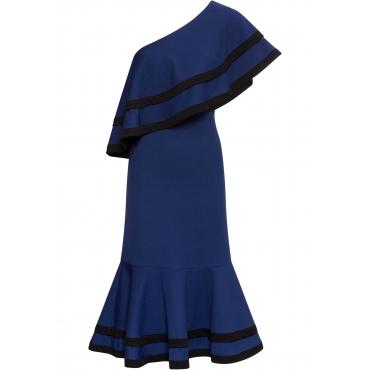 One-Shoulder-Kleid mit Volants ohne Ärmel  in blau für Damen von bonprix