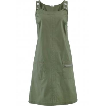 Papertouch-Stretch-Kleid ohne Ärmel  in grün für Damen von bonprix