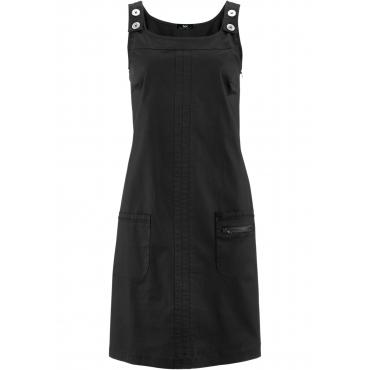 Papertouch-Stretch-Kleid ohne Ärmel  in schwarz für Damen von bonprix