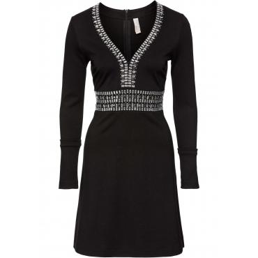 ausgereifte Technologien Sonderkauf hoch gelobt Partykleid langarm in schwarz (V-Ausschnitt) von bonprix
