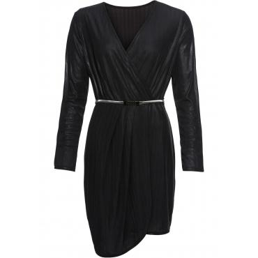 Party-Wickelkleid mit Gürtel langarm  in schwarz für Damen von bonprix
