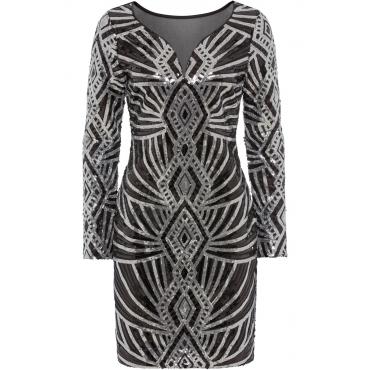 Partykleid mit Pailletten langarm in schwarz von bonprix | Online ...