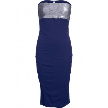 Partykleid mit Pailletten ohne Ärmel  in blau von bonprix